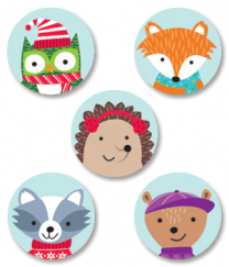 Winter Woodland Friends Spot Stickers