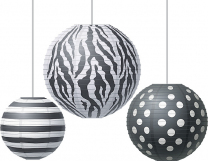 Big Bold Black and White Paper Lanterns