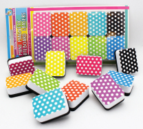 Colour White Dots Mini Whiteboard Erasers - Pack of 10