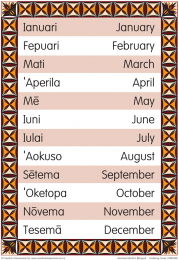 Months of the Year Samoan Bilingual Chart