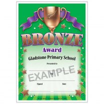 Bronze Award Personalised Certificates