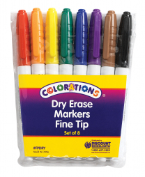 Colorations 8 Fine Tip Dry Erase Markers