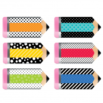 Striped & Spotted Pencils Jumbo Accent Cards