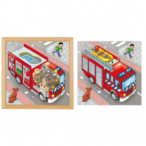 Fire Truck Two Layer Wooden Puzzle