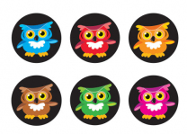 Bright Owls Spot Stickers