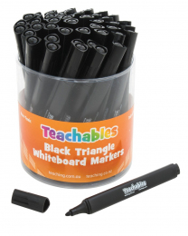 Triangular Black Whiteboard Markers - Pack of 48