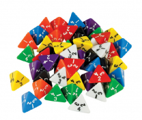 Large 4-Sided Coloured Dice - Set of 5