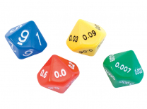 Large Place Value Decimal Dice - Set of 4