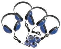Mini Stereo Jackbox and 4 Headphones