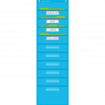 Aqua Polka Dot 10 Pocket File Storage Pocket