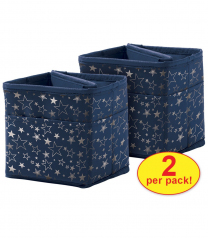 Navy with Silver Stars Tabletop Storage