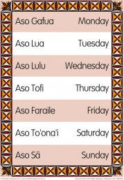 Days of the Week Samoan Bilingual Chart