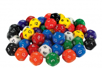 Large 12-Sided Numbered Dice - Set of 5