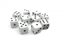 6-Sided White Dot Dice - Set of 10