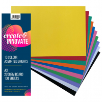 Board A3 10 Bright Colours 220gsm - Pack of 100