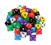 Large 8-Sided Numbered Dice - Set of 5