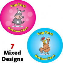 Funky Farm Animals Personalised Stickers