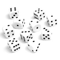 6-Sided White Dot Dice - Set of 10