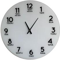 Te Reo Large Glass Clock