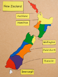 New Zealand Cities Map Wooden Puzzle
