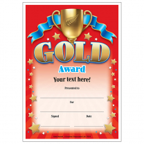 Gold Award Personalised Certificates
