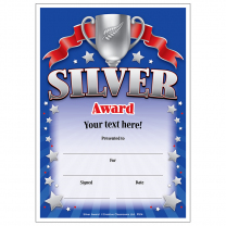 Silver Award Personalised Certificates