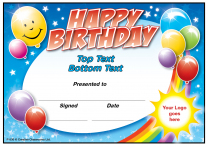 Birthday Balloons Personalised Certificates