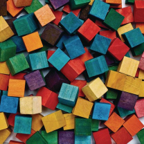 Coloured Wood Cubes - 1.6cm