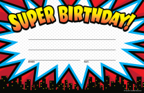 Superhero Super Birthday Certificates