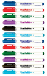 Assorted Colours Thinline Whiteboard Markers - Pack of 12