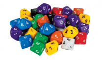 Large 10-Sided Numbered Dice - Set of 5