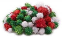 Christmas Pom Poms - Pack of 100